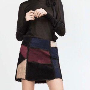 Zara Patchwork Suede Skirt Beige Burgundy Black